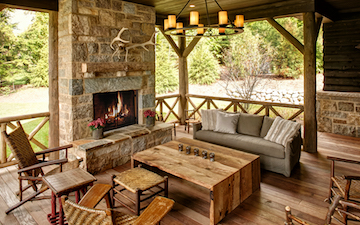 outdoor michigan up north fireplace
