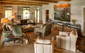 living room with logs