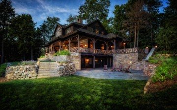 stylized sideview of rustic northern michigan home